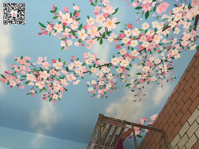 塘沽二幼海棠花彩绘