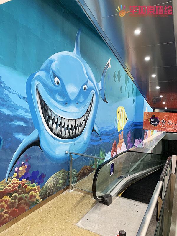 商场扶梯间海底世界彩绘