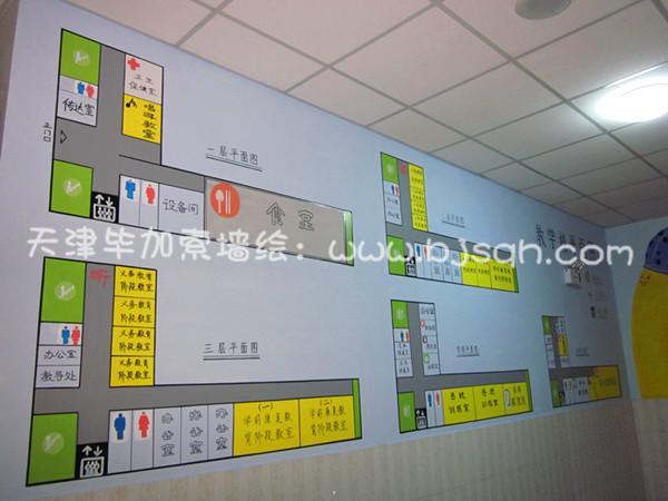 一层楼梯口学校教学楼平面图 塘沽兴华里学校一楼彩绘